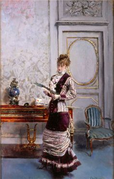 Giovanni Boldini (Italian 1842–1931) [Portraiture] A Lady Admiring a Fan, 1878.