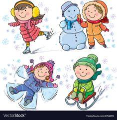 Winter kids vector 1756099 - by pinkcoala on VectorStock® Winter Illustration, Christmas Illustration, Clipart, Kids Vector, Winter Images, Cute Family, Winter Kids, Children Images, Stick Figures