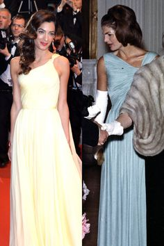 Amal Clooney and Jackie Kennedy in similar Grecian evening dresses. Estilo Jackie Kennedy, Os Kennedy, Jacqueline Kennedy Onassis, Outfits 2014, Chic Outfits, Fashion Outfits, Lou Fashion, Estilo Fashion, Amal Clooney