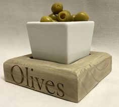 The Tapas dish for olives includes a ceramic dish. Tapas Dishes, Olives, Ceramics, Kitchen, Ceramica, Pottery, Cooking, Tapas Retter, Kitchens