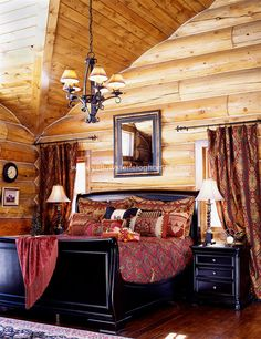 Log Home Interior design and Log home interiors photos. View a variety of possibilities for log home interior designs to plan your next log home. Contact Yellowstone Log Homes today. Log Cabin Living, Log Cabin Homes, Log Cabins, Cottage Living, Log Home Bedroom, Master Bedroom, Cozy Bedroom, Log Cabin Furniture, Dark Furniture