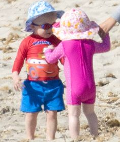 Princess Charlene was photographed with her children in Corsica beach