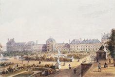 Le palais et le jardin des Tuileries au XIXe siècle par Gaspard Gobaux (BNF - Gallica).