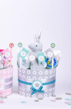 Windeltorten - Windeltorte Hase Mädchen Junge Baby Geschenk Taufe - ein Designerstück von MissNappyCake bei DaWanda