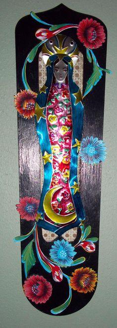 ceiling fan metal virgin, glass painted, oil cloth flowers