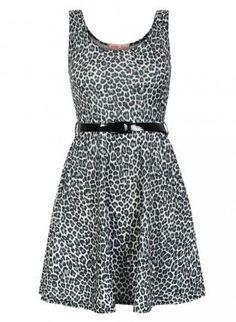 Grey Animal Print Mini Skater Dress with Black Belt,  Dress, animal print  skater dress, Casual