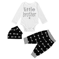 e4539659 Blackobe 3pcs Newborn Infant Kids Baby Boy Girl Clothes BodysuitPantsHat  Outfits Set 6M Black >