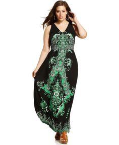 INC International Concepts Plus Size Dress, Sleeveless Printed Maxi - Plus Size Dresses - Plus Sizes - Macy's