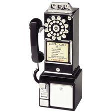 Crosley 1950's Classic Pay Phone in Black - CR56