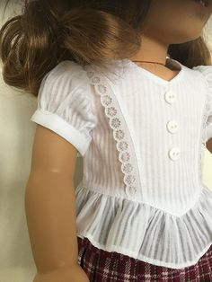 Frilly blouse with plaid skirt fits American girl dolls