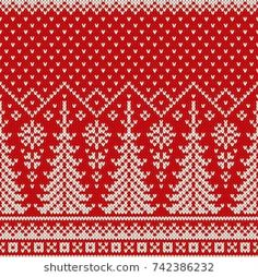 Winter Holiday Seamless Knit Pattern with a Christmas Trees and Snowflakes. Knitting Charts, Knitting Stitches, Knitting Yarn, Sweater Design, Winter Sweaters, Winter Holidays, Knit Patterns, Pattern Art, Knit Crochet