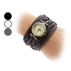 Frauen-Quarz-analoge Vintage-Leder-Band-Armbanduhr (farblich sortiert) – EUR € 13.79