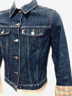 14732573e2e Very Rare Burberrys Blue Label Jeans Selvedge Jacket Dark Blue S Nova Check  Cuff #fashion