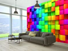 Wall Murals Many Sizes Colorful Brick Design Room Wall Modern Sticker Decor 3d Wallpaper Mural, 3d Wall Murals, Floor Murals, Mural Art, Photo Wallpaper, Brick Design, Wall Design, Design Room, Optical Illusion Wallpaper