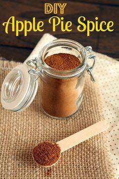 DIY APPLE PIE SPICE. Ingredients: 3 Tbsp ground cinnamon + 1 Tbsp ground nutmeg (freshly grated, if available) + 1 ½ tsp ground allspice + ½ tsp ground cardamom