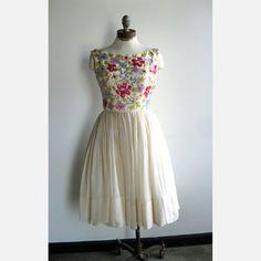 1950's Sequin Floral Party Dress,