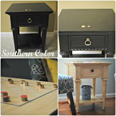 Southern Color: Guestroom Makeover: Checkerboard Side Table need to do minus the checkerboard!!!