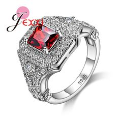 JEXXI Luxury Full Rhinestone Sterling Silver 925 Jewelry Square Cut Red Crystal Women Party Rings Fashion Accessory Promotion