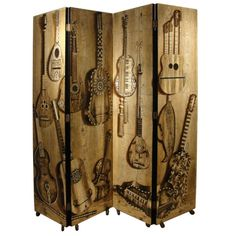 Piero Fornasetti Musical Themed Four-Panel Screen on Casters
