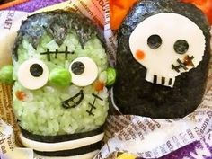 Frankenstein Monster and a Skull Halloween Character Bento Recipe by cookpad.japan - Cookpad