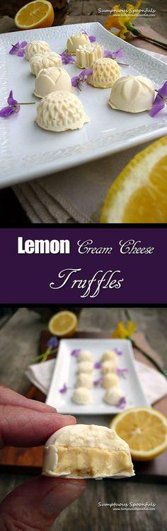 Lemon Cream Cheese Truffles ~ Sumptuous Spoonfuls #dessert #recipe