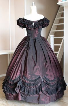 Ball gown Victorian dress Burgundy with black lace and Ribbon
