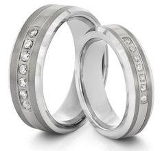 His  Hers 8mm/6mm Tungsten Carbide Silver CZ Wedding Band Ring Set (Available Sizes 4-14 Including Half Sizes): Wedding gift