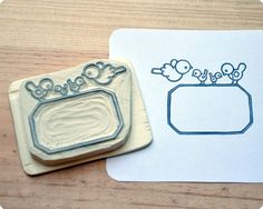 Hand Carved Birds Rubber Stamp