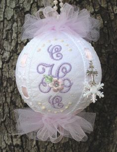 Lovely Lavender Birth Ornament for the nursery now, then for baby's First Christmas Tree later!