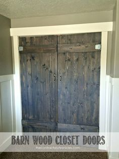 """""""""For doors from master to bath. How to build barn wood closet doors for your home by The Contractor Chronicles Wood Closet Doors, Wood Doors, Pine Doors, Western Decor, Country Decor, Country Barns, Country Living, Barn Wood, Rustic Wood"