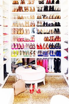 Step Inside a Design Blogger's Chic Office Closet// shoe storage, shoe closet, leopard carpet