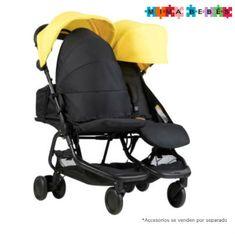 Mountian Buggy Nano Duo, un cochecito doble ligero y duradero de solo 9 kg de peso y fácil plegado. Double Strollers, Baby Strollers, Mountain Buggy, Baby Gadgets, Sun Canopy, Retail Packaging, Cyber, Twins, Children