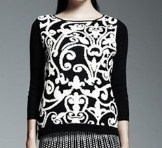 Catherine Malandrino x DesigNation Scroll Jacquard Sweater