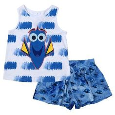 Toddler Girls' Finding Dory 2-Piece Tie Dye Design Tank Top and Short Set…