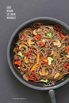 Easy Vegan Lo Mein with Soba Noodles. Ready in 20 minutes. Clean out the fridge Veggie Lo Mein Recipe with Soba Wheat Noodles. Use any noodles of choice. Vegan Nut-free Recipe.   VeganRicha.com