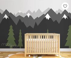 Geometric Woodland Nursery Room Decor Snow Peak Mountain Shelf Forest Reclaimed Wood TriangleMeghann WrightPeel & stick removable wallpaper Ombre gradient mountain pine tree forest scenery wall decal sticker mural My Boys Room Mountains For My