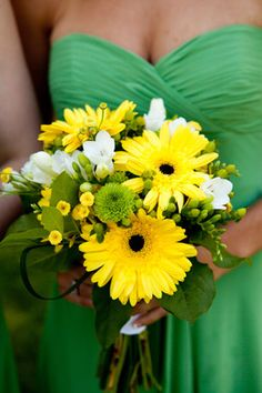 Bridesmaid Bouquet  Yellow, White & Green Wedding Flowers  Gerbera Daisies  Emma & Ian - Portfolio - InFullBloombyMJL