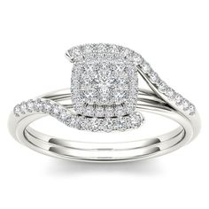 De Couer 10k White Gold 1/2ct TDW Diamond Bypass Halo Engagement Ring (H-I, I2) (Size-9), Women's, Size: 9, White H-I