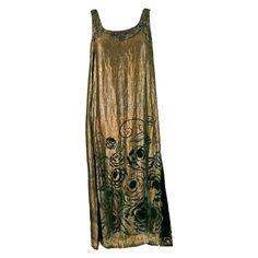 1920's French Beaded Rhinestone Metallic-Gold Floral Lame Flapper Dress | 1stdibs.com
