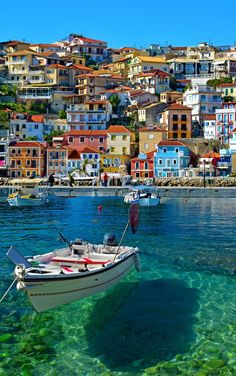 Colorful boat in Parga, Greece.