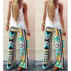 $13.24 Stylish Mid-Waisted Geometric Print Loose-Fitting Women's Pants