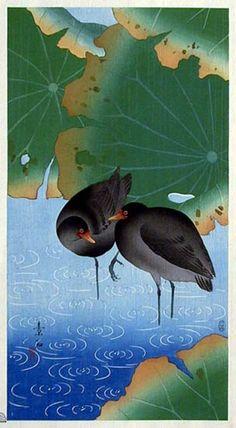 Moorhens  by Komori Soseki, 1929  (published by Kawaguchi & Sakai)