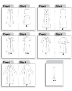 McCall's 4769 Shirt Dress Line Drawing
