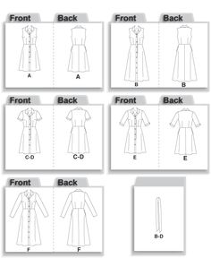 McCall's 4769 Shirt Dress Line Drawing
