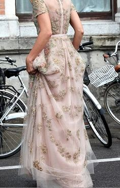 Pink with embroidered flowers, amazingly beautiful