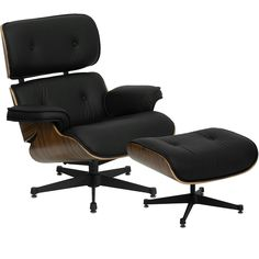 Presideo Top Grain Italian Leather Lounge Chair and Ottoman in Black $799