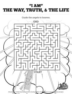 John 14 The Way the Truth and the Life Bible Mazes: Who doesn't love the adventure of getting through a fun and creative Bible Maze? With beautiful illustrations and strong design, this John 14 printable activity is perfect for your upcoming lesson on Jesus - the way, the truth, and the life.