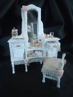 Accessorized shabby chic vanity table & stool 1/12tn scale.