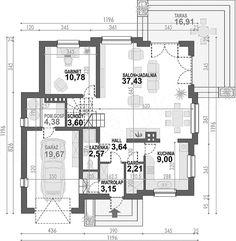 Rzut parteru projektu Opałek II N House Outside Design, House Design, The Plan, How To Plan, Brick Siding, My Dream Home, House Plans, Floor Plans, House Styles