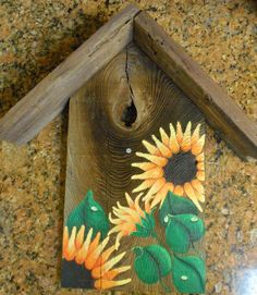 Rustic Birdhouse, Wall Hanging, Hand Painted Sunflowers, Salvaged Barn Wood…